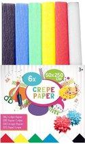 Crêpe papier / crepepapier / knutselpapier 6 kleuren 50 x 250 cm