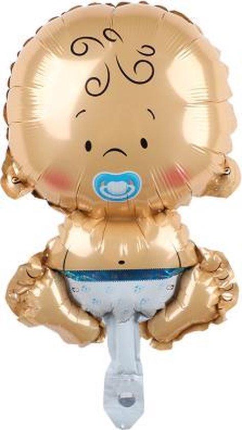 Baby ballon - 68x45cm - Blauw - Folie ballon - Themafeest - Babyshower - Geboorte - It