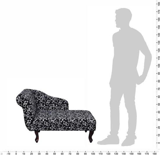 vidaXL Chaise longue met bloemenpatroon stof zwart en wit - vidaXL