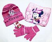 Disney Minnie Mouse winterset 3-delig - muts+col+handschoenen - roze - maat 52 cm (+/- 2-5 jaar)