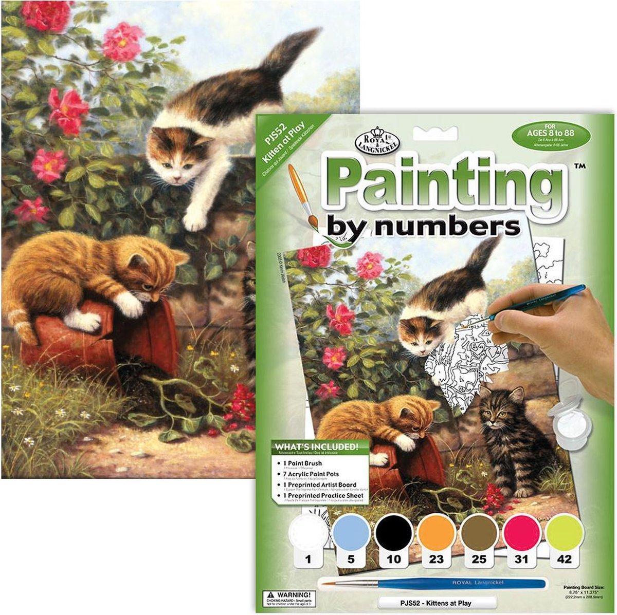 Schilderen op nummer - Paint by numbers - Dieren - Kittens aan het spelen 22x30cm - Schilderen op nummer volwassenen - Paint by numbers volwassenen