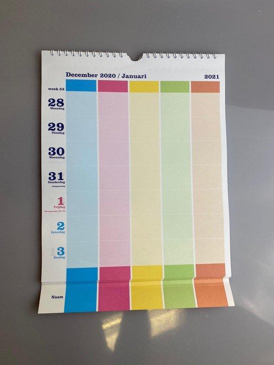 Afbeelding van 2021 Familiekalender- Gezins planner - Kalender - Planner Agenda 2021 - Weekkalender 2021- Weekplanner - 5 Personen