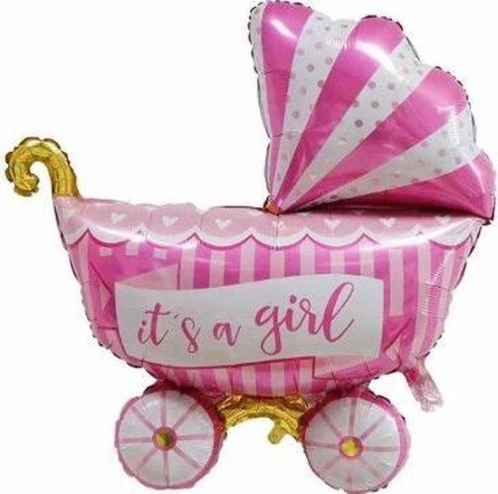 Kinderwagen ballon - XL - 94x81cm - Roze - Folie ballon - Themafeest - Babyshower - Geboorte - It