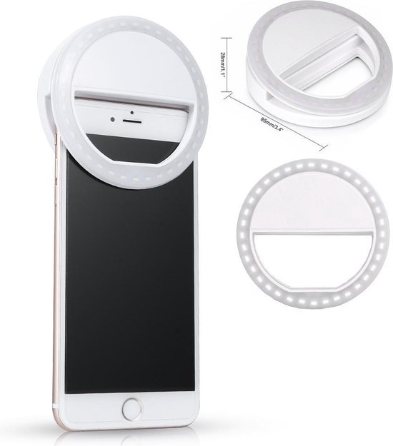 Jumalu Selfie Ring Light Clip / Led Lamp / 3 Standen / Oplaadbaar / Flashlight / Ring Lamp / Verlichting in Wit