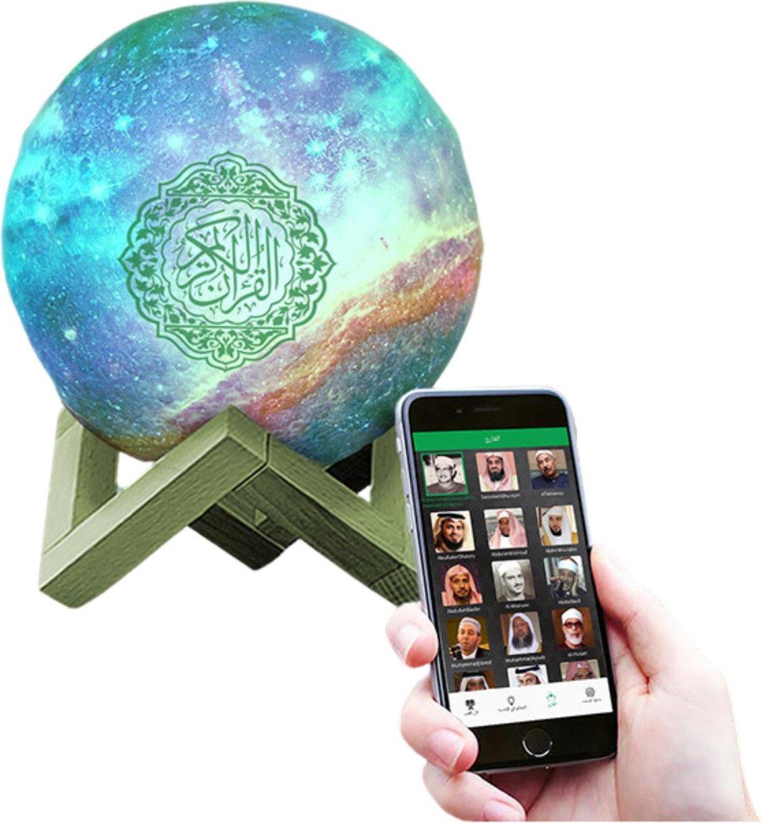 EQUANTU Tafellamp Bedienbaar via app - Tafellamp industrieel Draadloos - Koran Lamp 7 kleuren - Koran Speaker - Koran Lamp - Bluetooth Speaker - Smart Speaker - Dimbaar - Incl. Afstandsbediening - 15 CM
