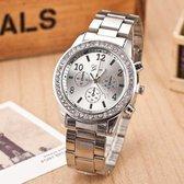 Geneva zilver dames horloge • Quartz • Zilver • Silver • Ladies watch