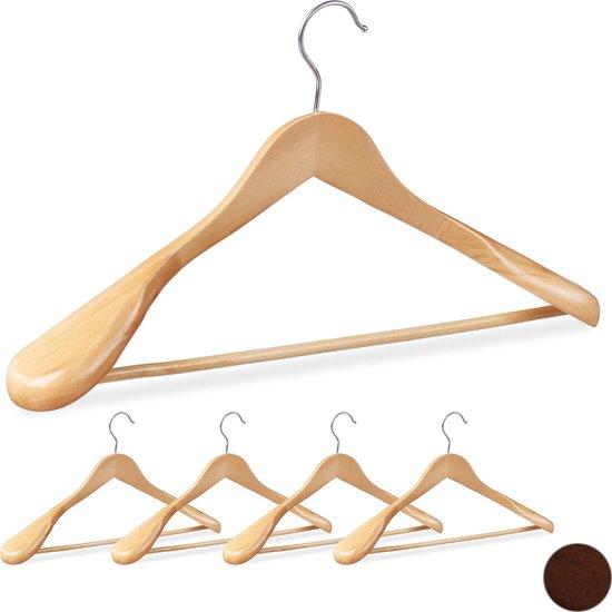 relaxdays kledinghangers set - 5 stuks - voor pakken - brede schouder - kleerhangers hout Naturel