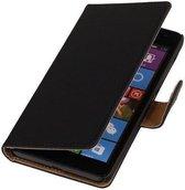 Effen Zwart Microsoft Lumia 535 Hoesje Book/Wallet Case/Cover