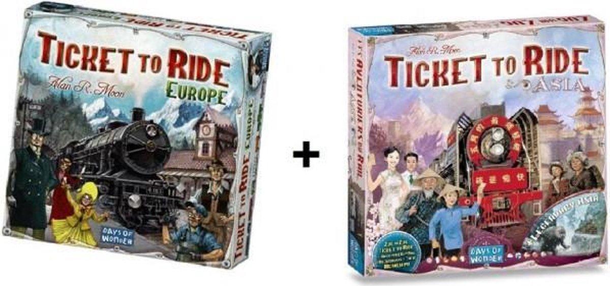 Ticket to Ride Europe + uitbreiding Ticket to Ride Asia - Bordspel - Combi Deal