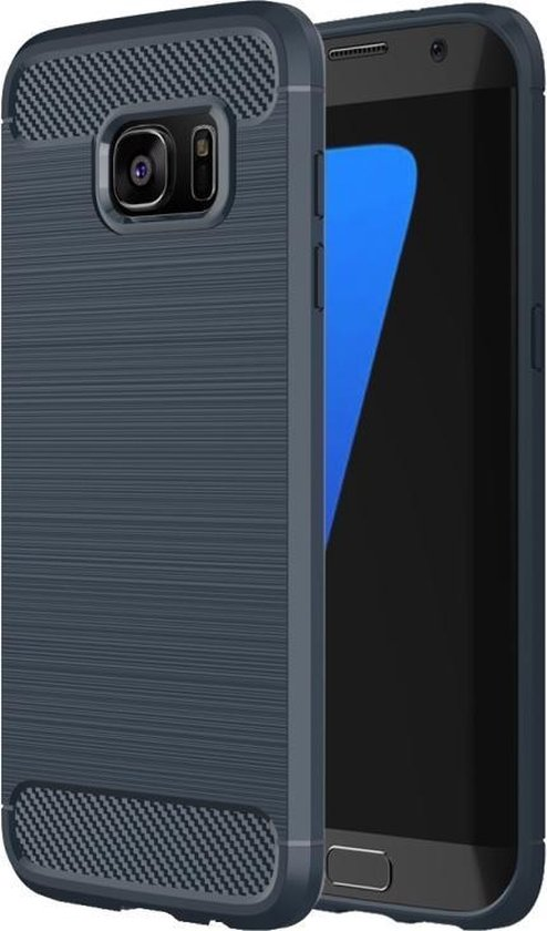 For Samsung Galaxy S7 Edge / G935 Brushed structuur Fiber TPU Rugged Armor beschermings hoesje(donker blauw)