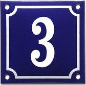 Emaille huisnummer blauw/wit nr. 3