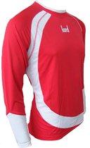 KWD Shirt Nuevo lange mouw - Rood/wit - Maat XL