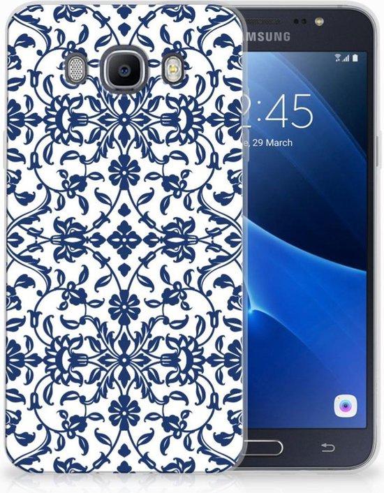 Samsung Galaxy J7 2016 Uniek TPU Hoesje Flower Blue
