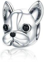 Zilveren bedel Grappige Franse bulldog