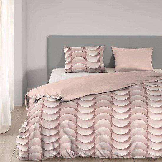 Good Morning 5413-A met grafische print - dekbedovertrek - eenpersoons - 140x200/220 cm  - katoen - roze