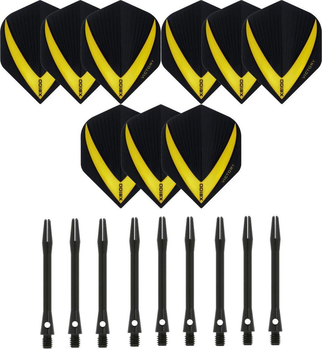 3 sets (9 stuks) Super Sterke - Geel - Vista-X - darts flights - inclusief 3 sets (9 stuks) - medium - Aluminium - zwart - darts shafts