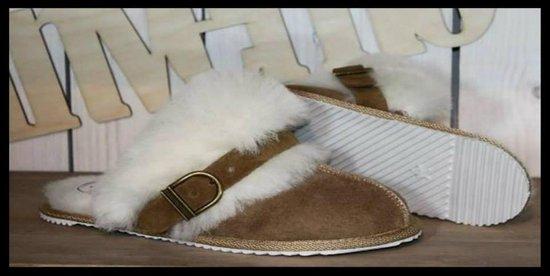 schapenvacht lamsvacht slippers sloffen pantoffels met flexibele rubberzool