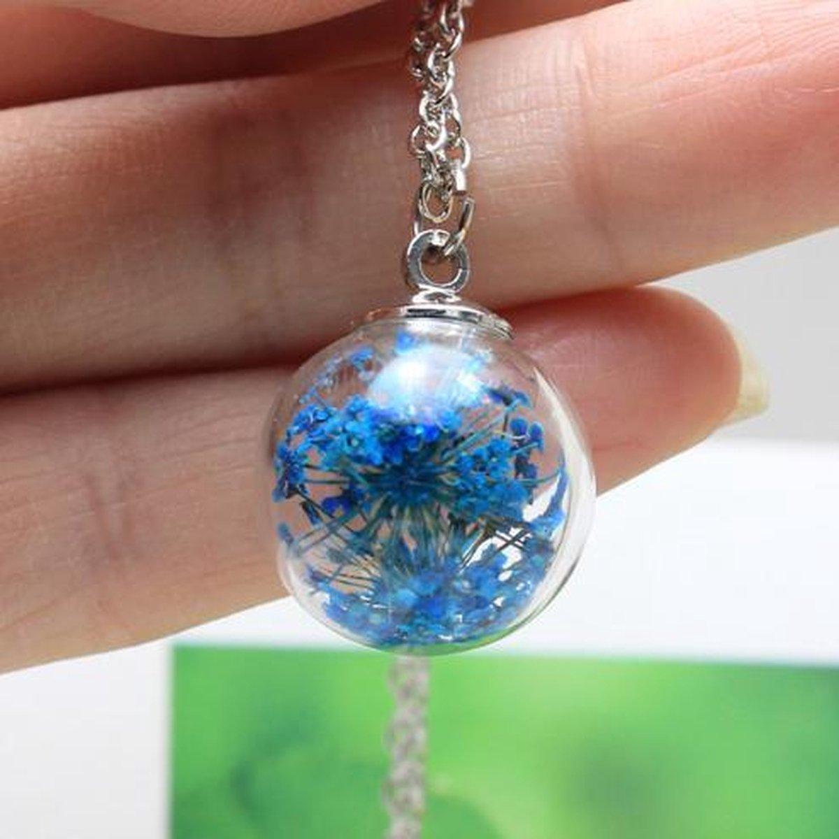 Levens ketting Blauw | Echte gedroogde bloem in Glas | Dames Hanger | 45 cm - NiSy.nl
