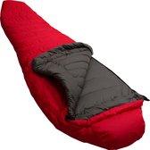 LOWLAND OUTDOOR® Donzen slaapzak - Serai 600 2 - 1335 gr - 230 x 80 cm -10°C - Red - Rits rechts