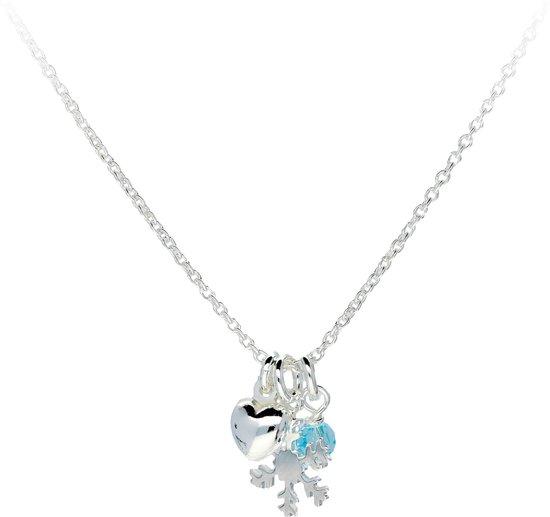 Lilly ketting Frozen - hart, sneeuwvlok, kristal - zilver - blauw - anker - 40cm