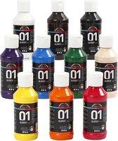 A-color acrylverf -  Assortiment, kleuren assorti, 01 - glossy, 10x100 ml