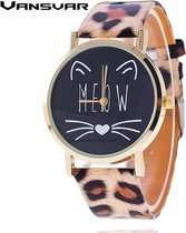 Horloge MEOW kat met panterprint