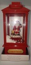 Kerstman in lantaarn - met muziek ,licht en sneeuw - 19 cm hoog