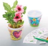 Baker Ross Ontwerp je eigen bloempotten (2 stuks per verpakking) Voor kinderen, om te versieren en neer te zetten