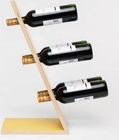 Compact Six Yellow Wijnrek - Klein staand flessenrek van hout voor 6 wijnflessen met een uniek en modern design