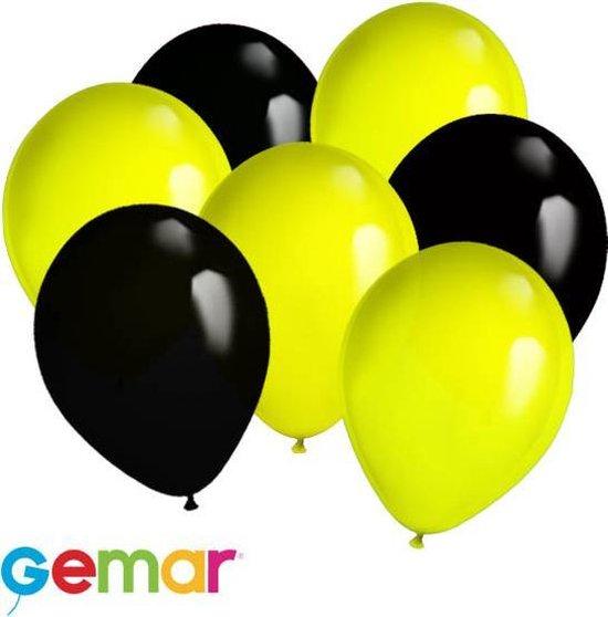 30x Ballonnen Geel en Zwart (Ook geschikt voor Helium)