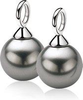 ZINZI zilveren oorbedels parel grijs ZICH266G