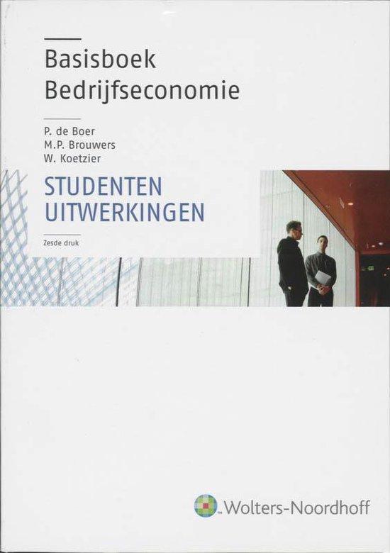 Boek cover Basisboek Bedrijfseconomie Studentenuitwerkingen van P. de Boer (Paperback)