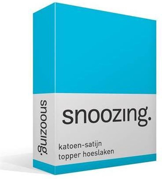 Snoozing - Katoen-satijn - Topper - Hoeslaken - Eenpersoons - 90x220 cm - Turquoise