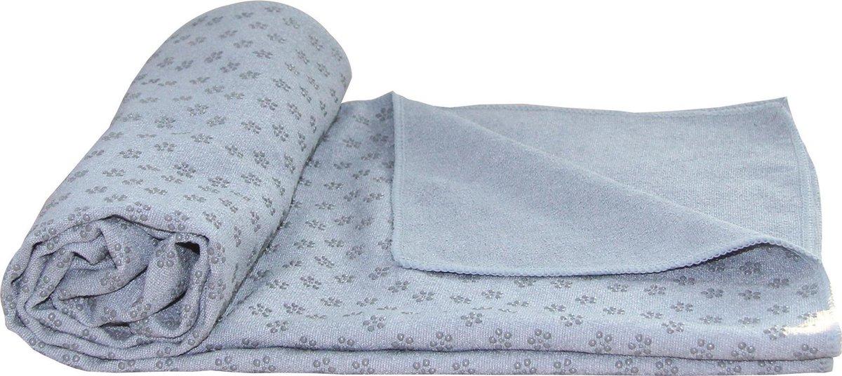 Tunturi Silicone Yoga handdoek met anti slip - met draagtas - Grijs