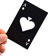 poker flessenopener - zwarte schoppen aas bieropener - RVS aas bieropener - kaart opener