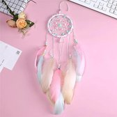 GLIM- Dromenvanger - dreamcatcher - 11 cm diameter - 55 cm lang - mooie volle veren - roze - mintgroen