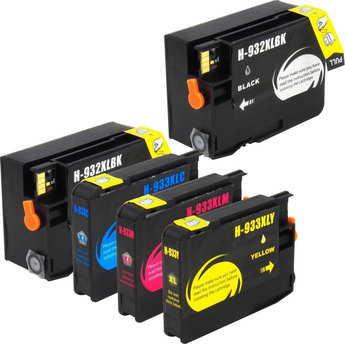 Huismerk HP 932 / HP 933 XL inktcartridges, set van 5 stuks. Zwart / Cyaan / Magenta / Geel / Hoge Capaciteit - InktMaxx