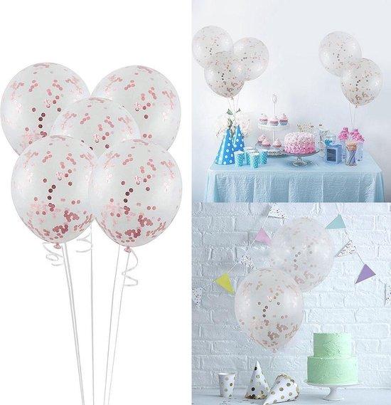 Transparante Confetti Ballonen Set 30 CM Groot - Grote Doorzichtige Latex Party Balonnen - Baby Shower Bruiloft Verjaardag Feestje - 25 Stuks - Rosegoud