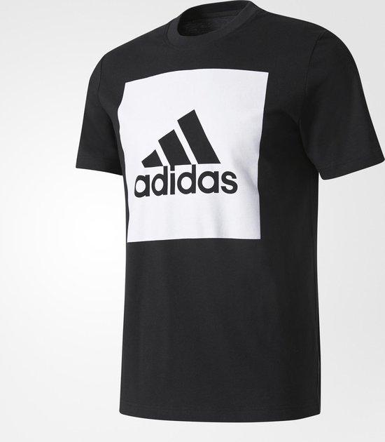 adidas Essentials Box Logo T-shirt Heren Sportshirt casual - Maat M -  Mannen - zwart/wit