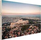 Uitzicht op de Akropolis Hout 30x20 cm - klein - Foto print op Hout (Wanddecoratie)