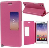 Huawei Ascend P7 view cover wallet hoesje roze