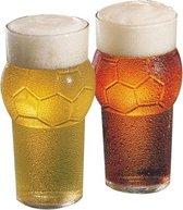 Drinkglazen Voetbalvorm 2 stuks – Bekers van Glaswerk – Geschikt voor in de Vaatwasser