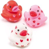 Rubberen eendjes met hartjes  (6 stuks per verpakking)