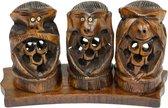 Beeld aapjes - Horen, zien, stilte - Hout - Bruin - 12x6x4 cm - Fairtrade - Sarana