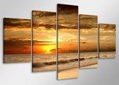 Strand - Canvas Schilderij Vijfluik 100 x 50 cm