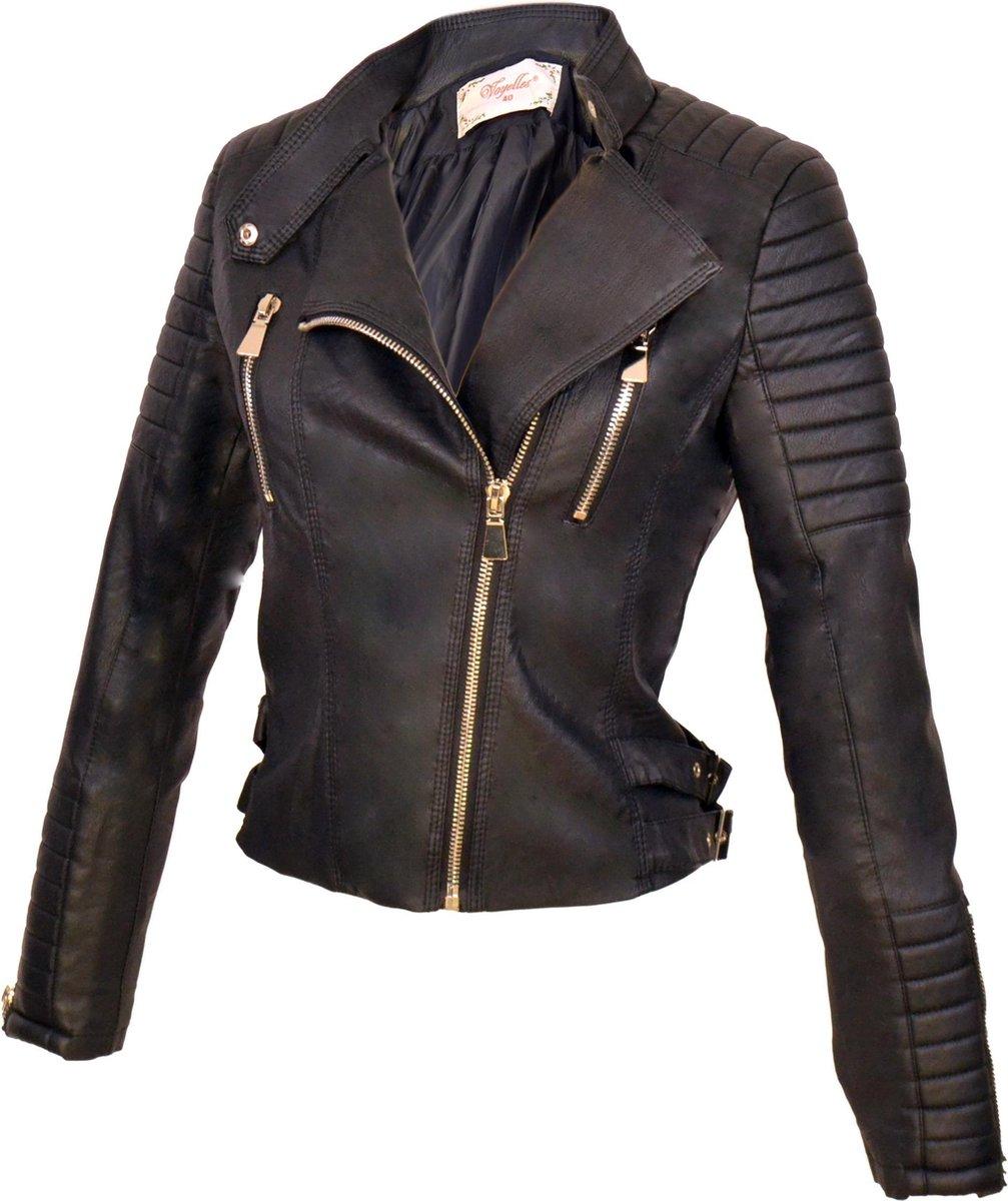 Maat 36 Imitatie Leren Biker jas voor Dames – Zwart