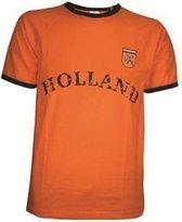 Retro T-shirt Oranje - EK/WK Nederlands Elftal - Voetbal met Holland logo - maat S