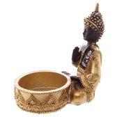 Goud & Bruin & Glas Mozaiek Thaise Boeddha theelicht houder - Set 3st