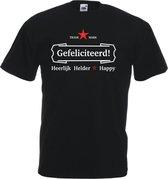 Mijncadeautje T-shirt - Gefeliciteerd, heerlijk, helder - Unisex Zwart (maat XL)