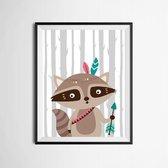 Postercity - Design Canvas Poster Boogschutter Wasbeer / Kinderkamer / Muurdecoratie / 40 x 30cm / A3